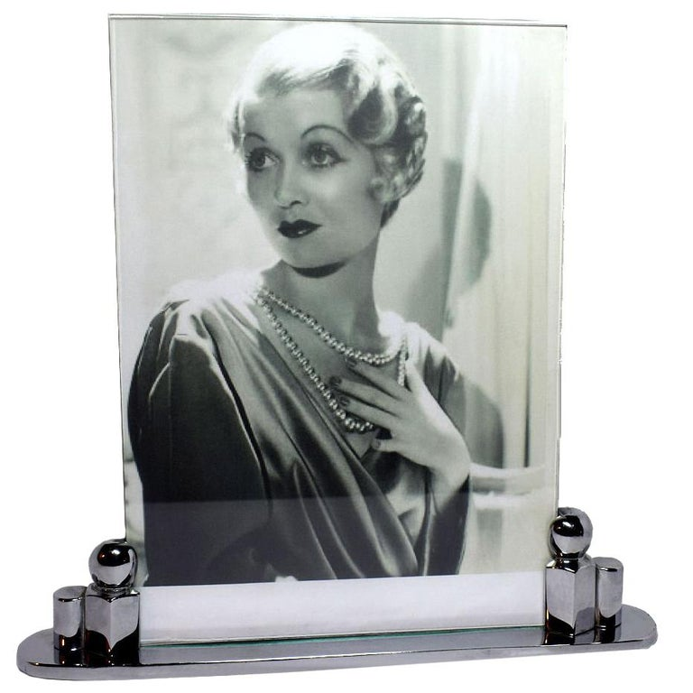 Impressively Large Art Deco Chrome Picture Frame, circa 1930 For Sale