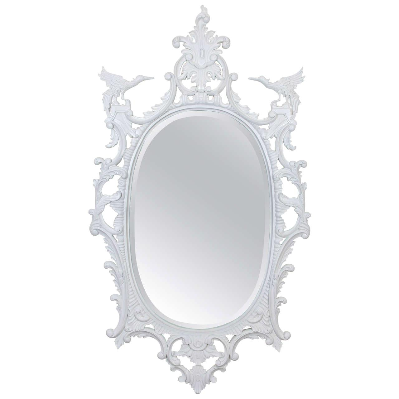 Impressively Large Chinese Chippendale Style Oval Mirror