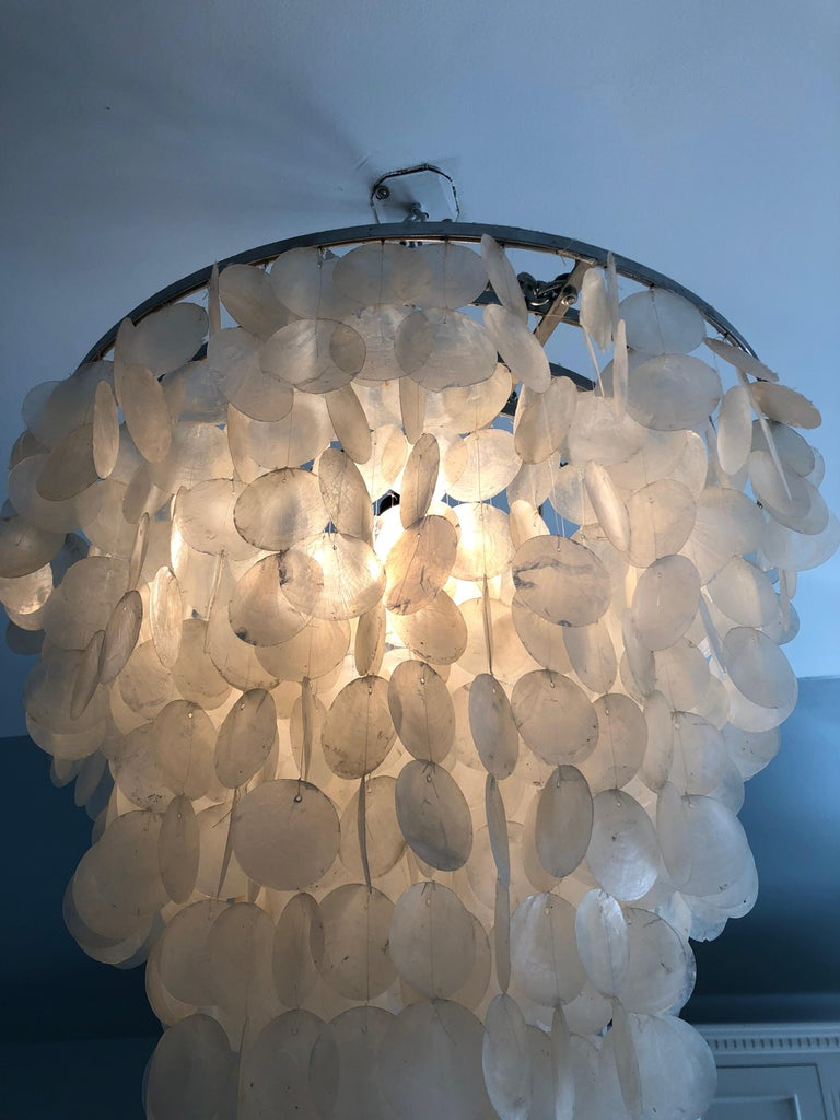 Impressively Large Glitzy Capiz Shell Chandelier In Excellent Condition For Sale In Hopewell, NJ