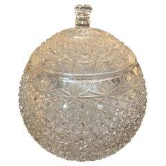 Impressively Large Ornately Cut Glass Rounded Lidded Urn