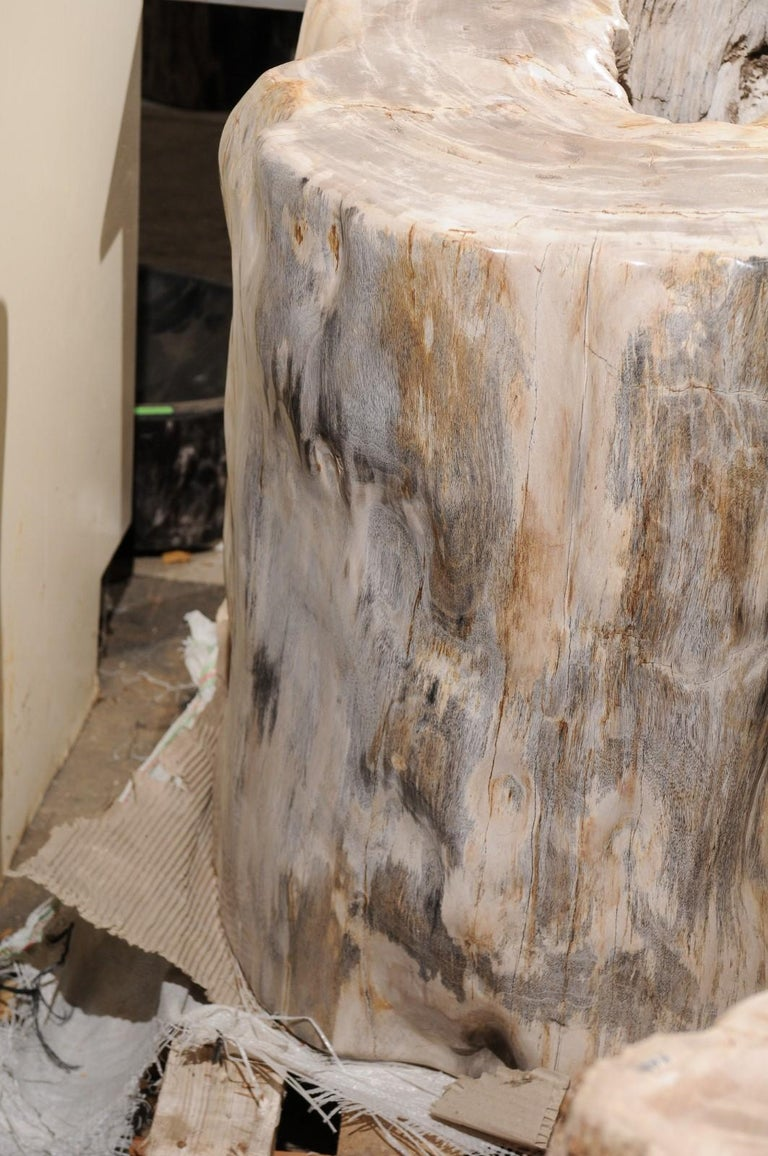 A Large-Sized Petrified Wood Pedestal Base, Beautiful Base for Glass Top Table! In Good Condition For Sale In Atlanta, GA