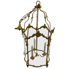 Impressively Large Vintage French Bronze Dore & Glass Lantern Chandelier