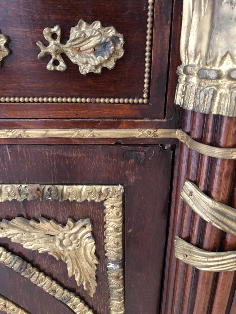 Impressively Ornate French Revolution Louis XVI Bronze Mounted Sideboard Buffet For Sale 10