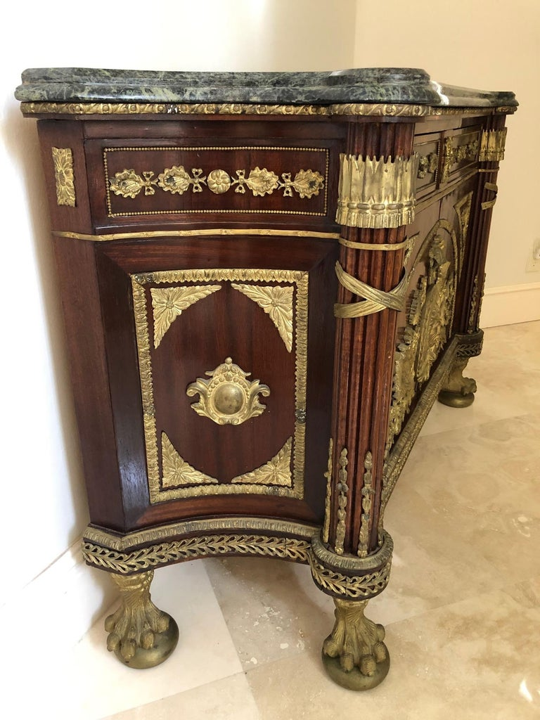 Impressively Ornate French Revolution Louis XVI Bronze Mounted Sideboard Buffet In Excellent Condition For Sale In Hopewell, NJ