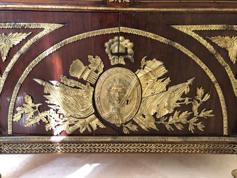 Impressively Ornate French Revolution Louis XVI Bronze Mounted Sideboard Buffet For Sale 5