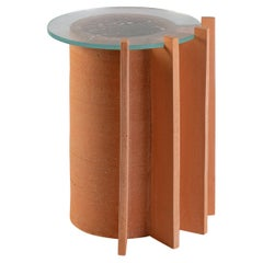 Impronta Side Table in Terracotta and Glass by Peca, Large