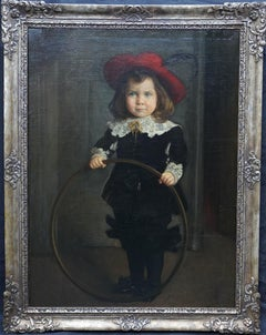 Portrait of a Boy with Hoop - Victorian Hungarian art male portrait oil painting