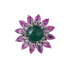 18K Gold Cabochon Emerald, Pear Pink Sapphire and Rose Cut Diamond Cocktail Ring