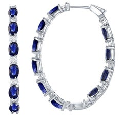 In and Out Hoop Earrings, 7.99ct of Sapphire, 1.13ct Diamond in 18kt White Gold