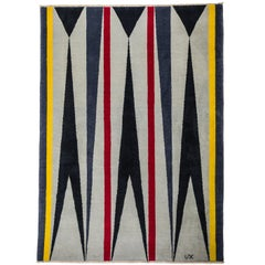 Grey Wool Rug w/ red yellow patterns by Cecilia Setterdahl for  Carpets CC