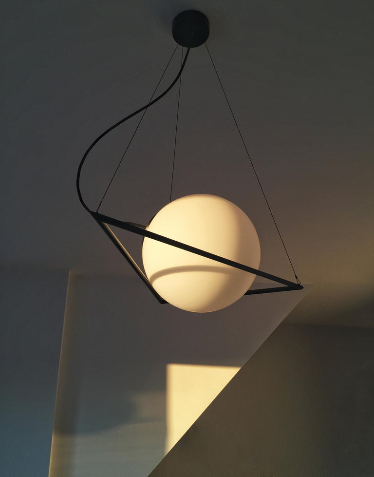 Brass In-Circle Pendant Lamp by Olek Vojtek For Sale