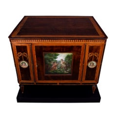 Neoclassical mahogany cabinet/commode, with painted panels - circa 1800.