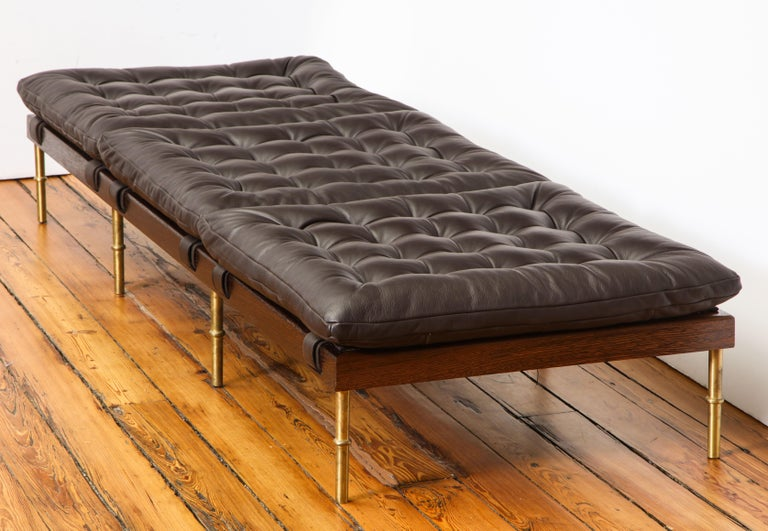 Mid-Century Modern Campanha Daybed, Tufted Leather with Oiled Wenge Base and Antiqued Brass Legs