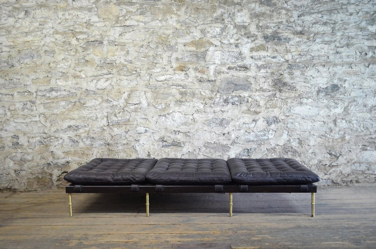 Contemporary Campanha Daybed, Tufted Leather with Oiled Wenge Base and Antiqued Brass Legs