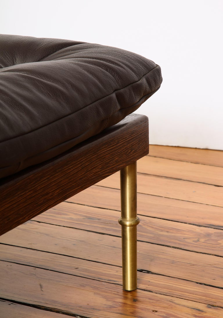 Campanha Daybed, Tufted Leather with Oiled Wenge Base and Antiqued Brass Legs 1