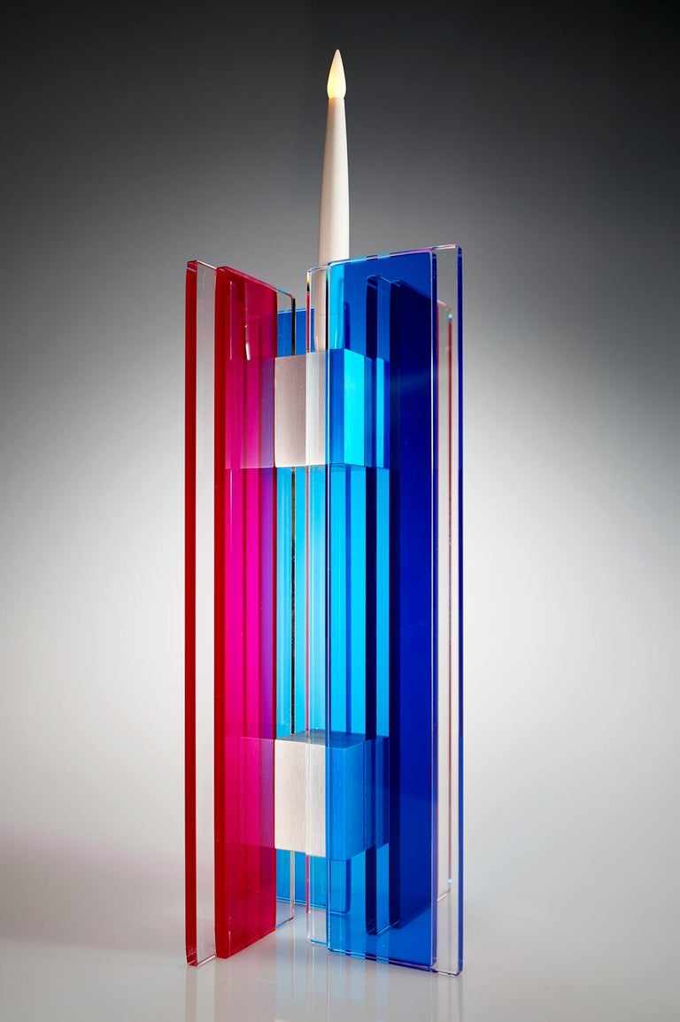 American In Stock Candleholder Majestic Design Tabletop Glass Aluminum Blue & Red For Sale