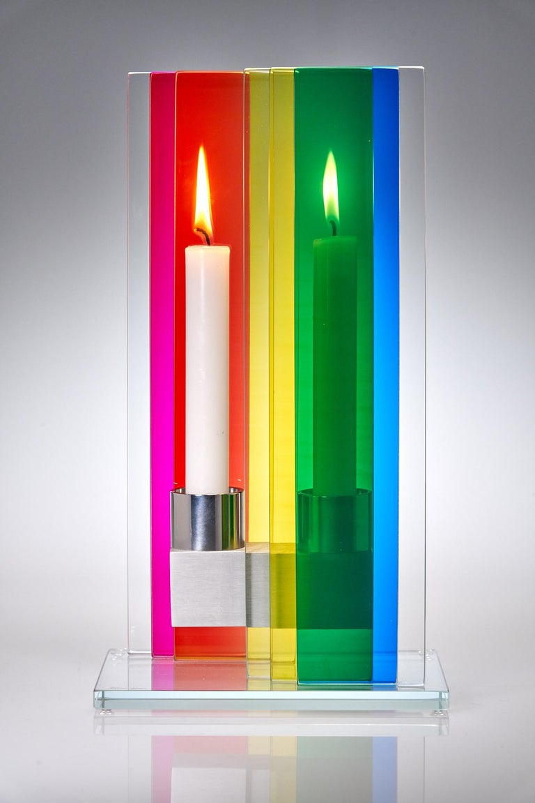Hand-Crafted In Stock Candleholder Unified Light Tabletop Glass Aluminum Rainbow For Sale