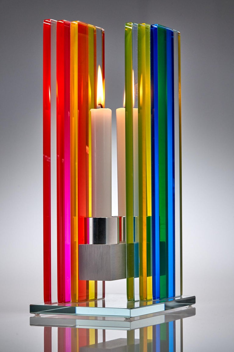 In Stock Candleholder Unified Light Tabletop Glass Aluminum Rainbow In New Condition For Sale In Waltham, MA