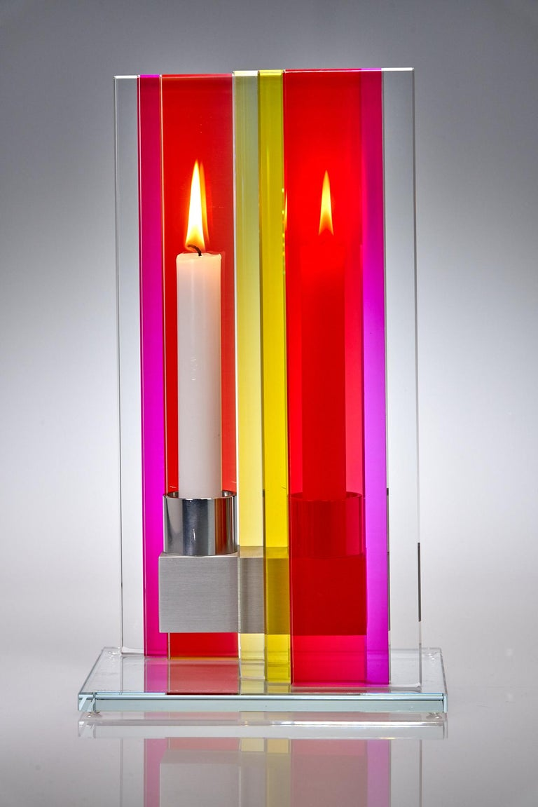 Anodized In Stock Candleholder Unified Light Tabletop Glass Aluminum Red Yellow For Sale