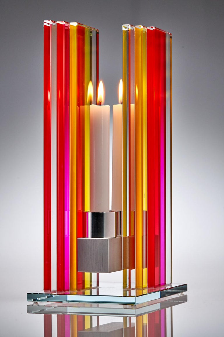 In Stock Candleholder Unified Light Tabletop Glass Aluminum Red Yellow In New Condition For Sale In Waltham, MA