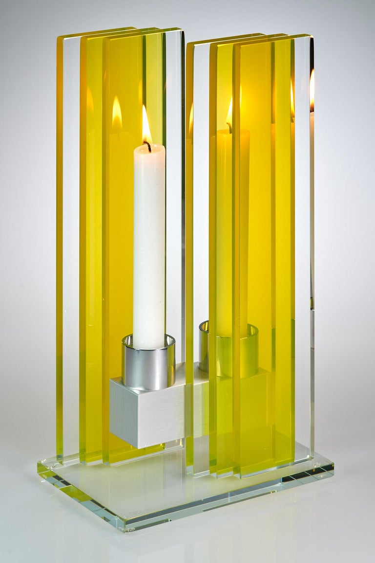 Anodized Contemporary Yellow Glass & Aluminum Candlestick For Sale