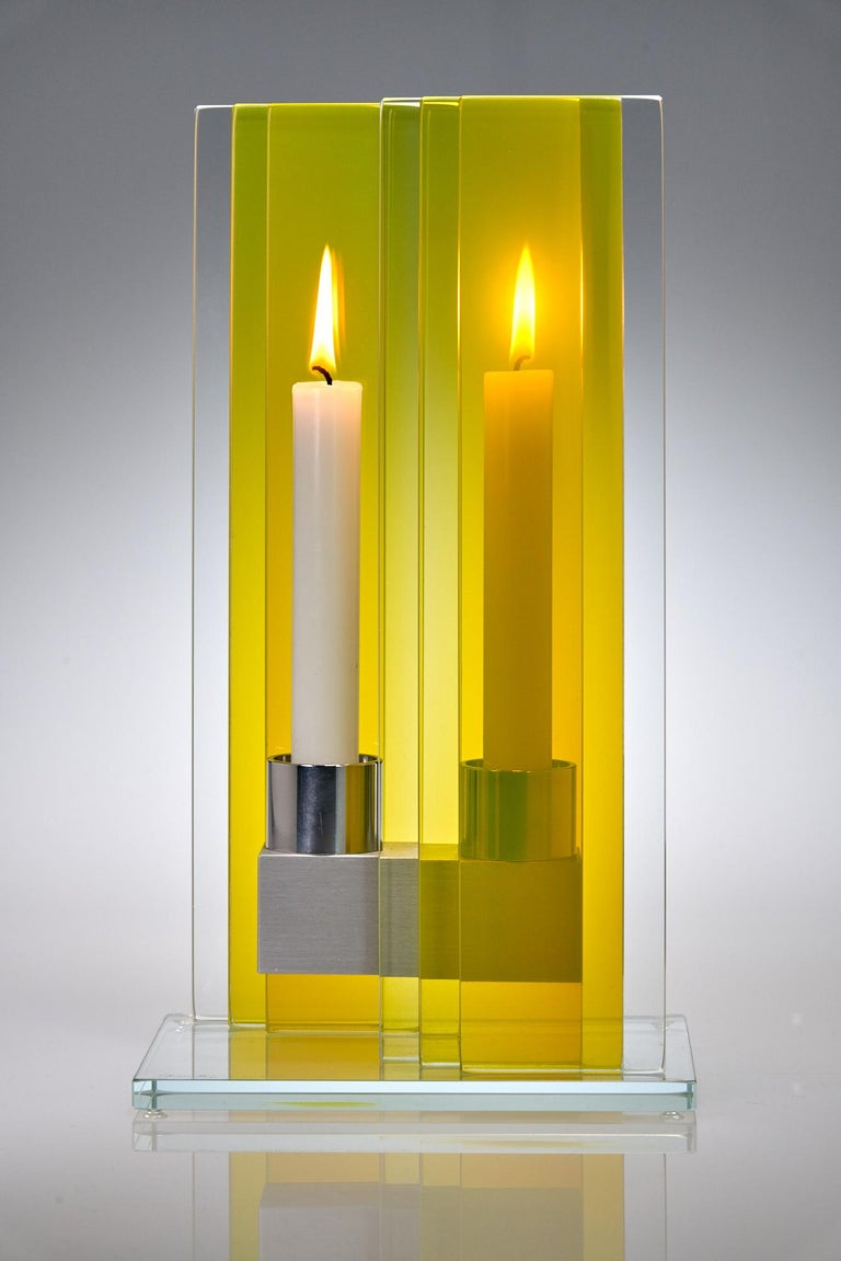 Contemporary Yellow Glass & Aluminum Candlestick In New Condition For Sale In Waltham, MA