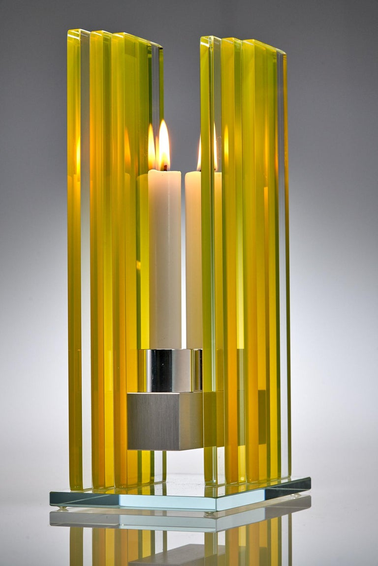 Contemporary Yellow Glass & Aluminum Candlestick For Sale 1