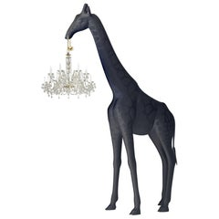 In Stock in Los Angeles, 13 Feet Tall Black Giraffe Outdoor Chandelier