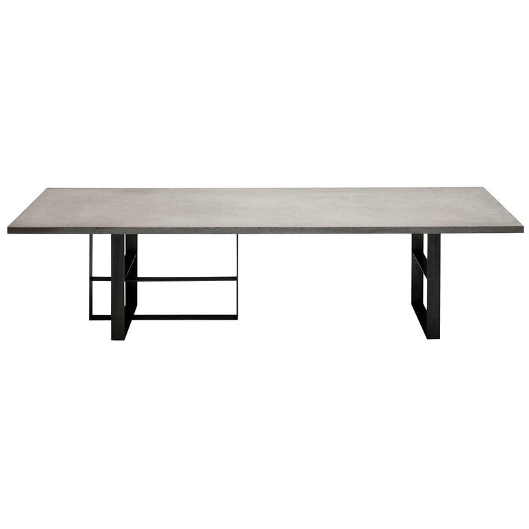 In Stock in Los Angeles, Grey Dining Table by Mist-o, Made in Italy For Sale