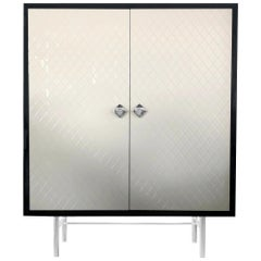 In Stock in Los Angeles, Beige and Black Quilted façon Chanel Cabinet