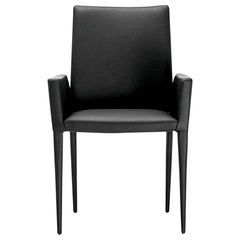 In Stock in Los Angeles, Bella, Black Leather Dining Armchair, Made in Italy