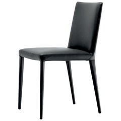 In Stock in Los Angeles, Bella, Black Leather Dining Chair, Made in Italy