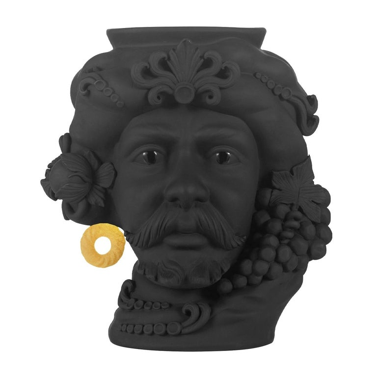 Italian In Stock in Los Angeles, Black & Gold Pirate Terracotta Vase For Sale