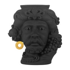 In Stock in Los Angeles, Black & Gold Pirate Terracotta Vase