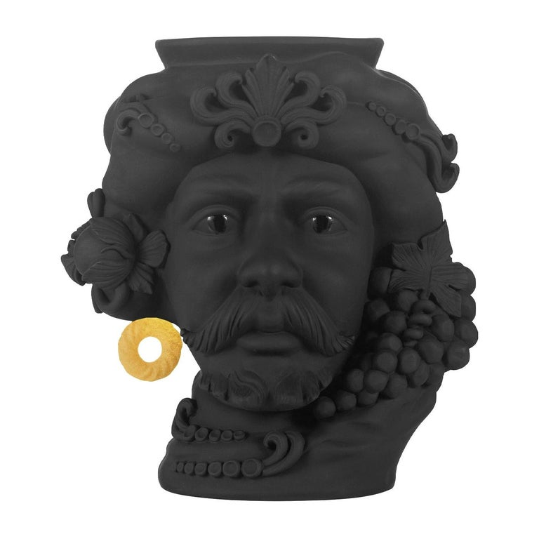 In Stock in Los Angeles, Black & Gold Pirate Terracotta Vase For Sale