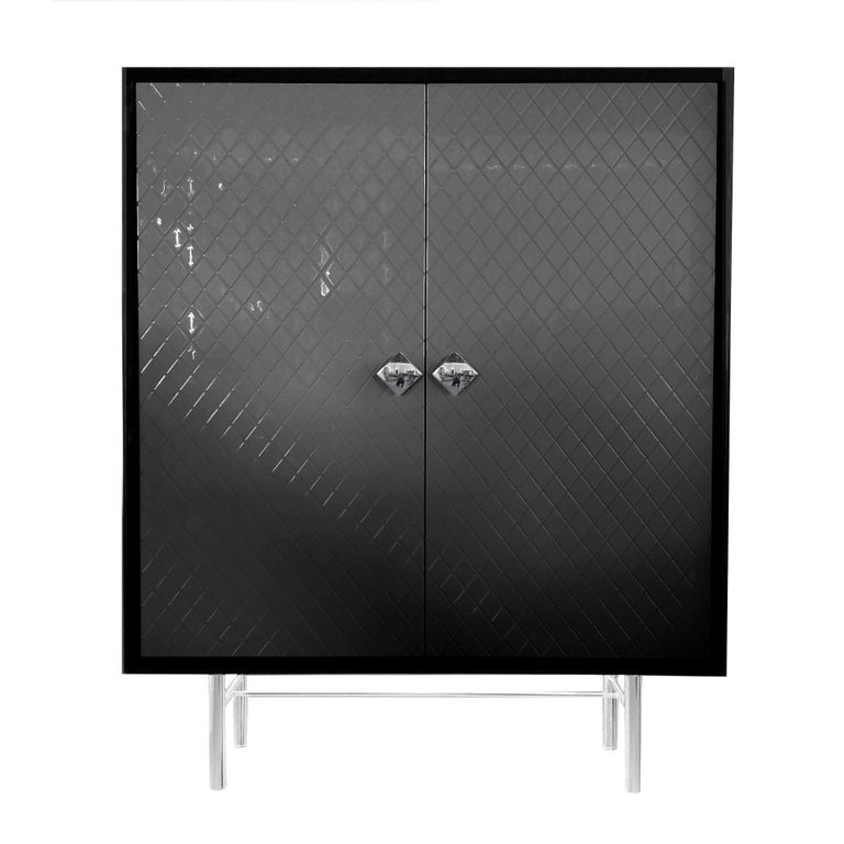 Modern In Stock in Los Angeles, Black Quilted façon Chanel Lacquer Bar / Cabinet For Sale