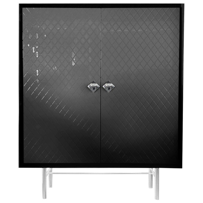 In Stock in Los Angeles, Black Quilted façon Chanel Lacquer Bar / Cabinet For Sale