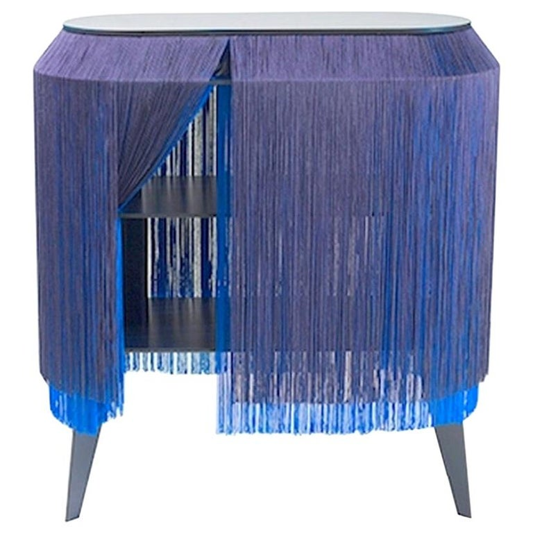 In Stock in Los Angeles, Blue Fringe Side Table / Nightstand, Made in France For Sale