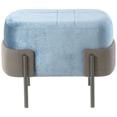 In stock in Los Angeles, Blue Velvet Pouf, Designed by Marco Zito, Made in Italy