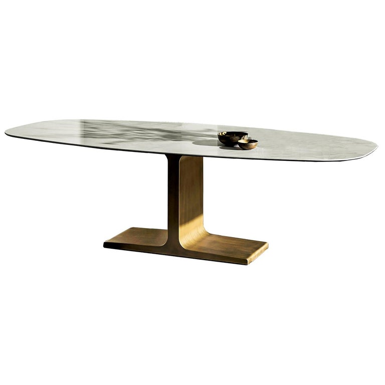 In Stock in Los Angeles, Brass / Ceramic Dining Table by Lievore Altherr Molina For Sale