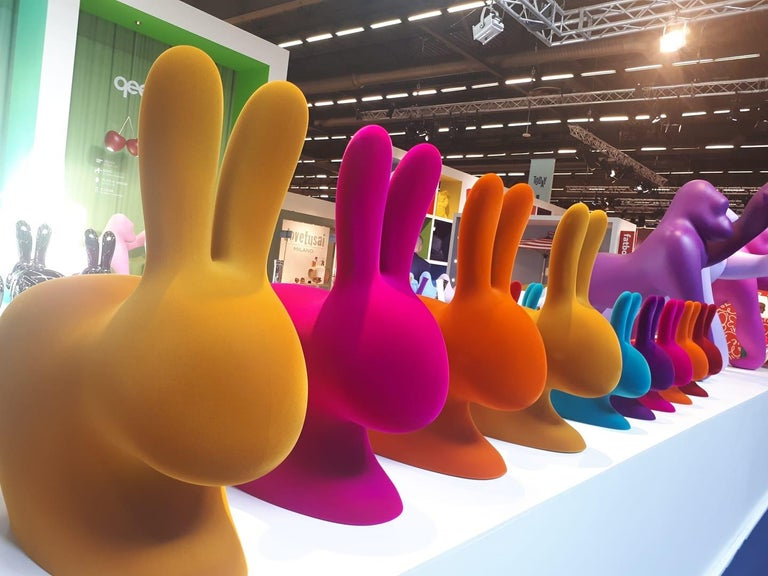 Italian In Stock in Los Angeles, Fuchsia Velvet Rabbit Chair, by Stefano Giovannoni For Sale
