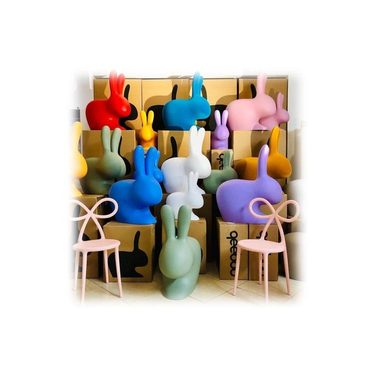 In Stock in Los Angeles, Light Blue Rabbit Chair, by Stefano Giovannoni In New Condition For Sale In Beverly Hills, CA