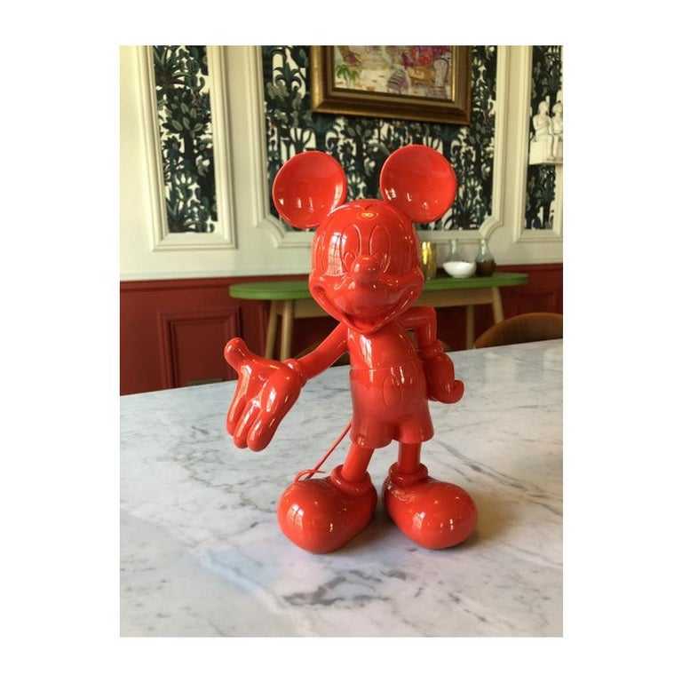 French In Stock in Los Angeles, Mickey Mouse Glossy Red, Pop Sculpture Figurine For Sale