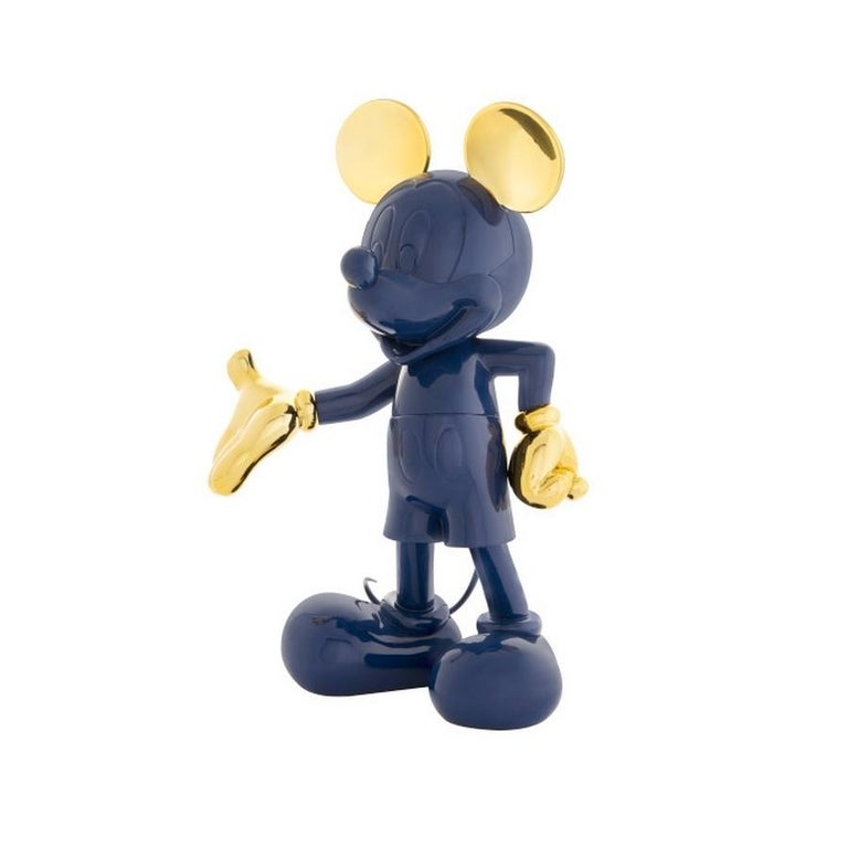 French Mickey Mouse Navy Blue & Gold, Pop Sculpture Figurine For Sale