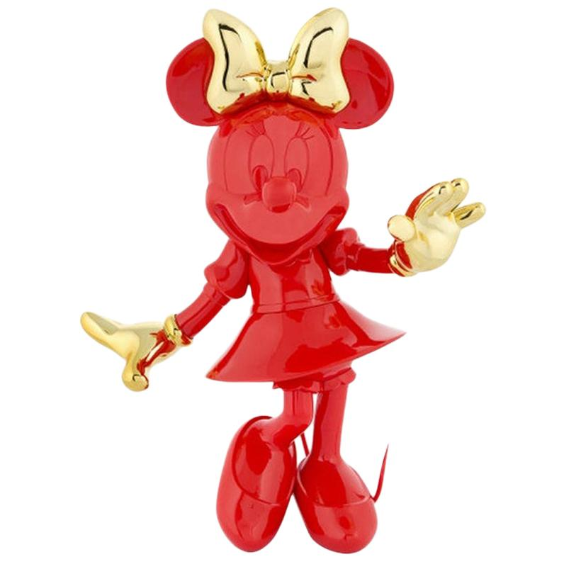 In Stock in Los Angeles, Minnie Mouse Red / Gold, Pop Sculpture Figurine