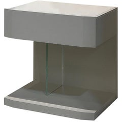 In Stock in Los Angeles, Samar Beige Leather Nightstand Table, Made in Italy