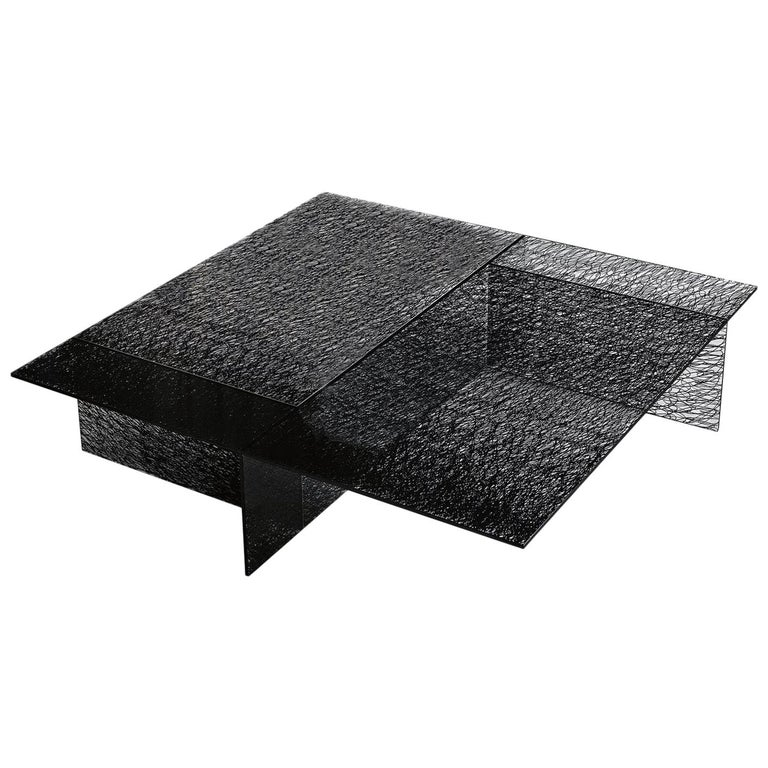 In Stock in Los Angeles, Sestante Black Glass Coffee Table, Made in Italy For Sale