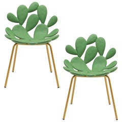 In Stock in Los Angeles, Set of 2 Green / Brass Cactus Chair by Marcantonio