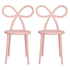 In Stock in Los Angeles, Set of 2 Pink Ribbon Chairs, Designed by Nika Zupanc