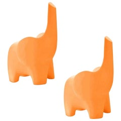 In Stock in Los Angeles, Set of 2 Tino, Orange Elephant Children Chair